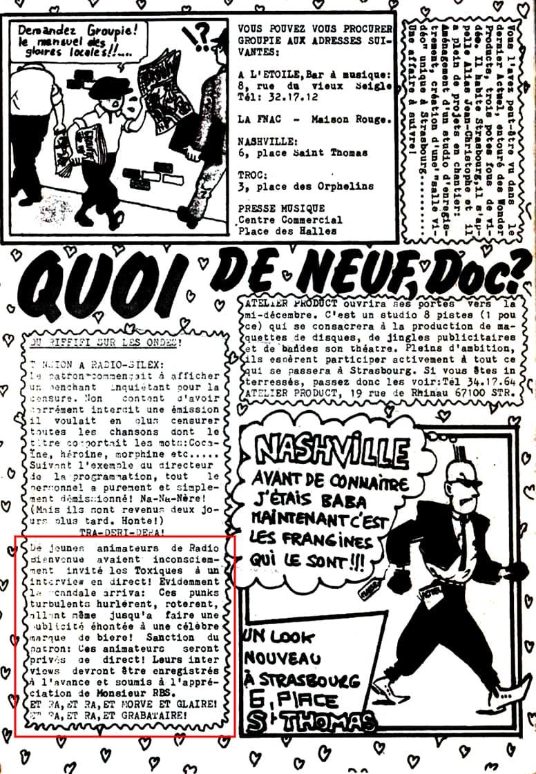 Extrait du fanzine Groupie n°5 (octobre 1982)